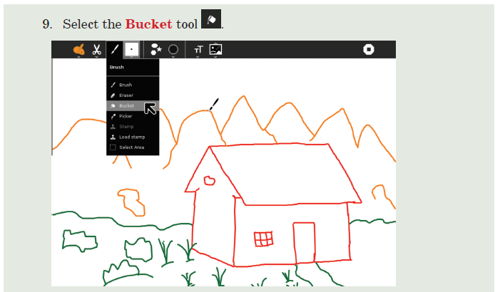 9. Select the Bucket tool