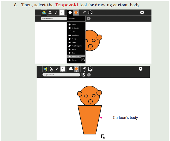 Activity -4 Drawing a Cartoon Using Shapes Tool