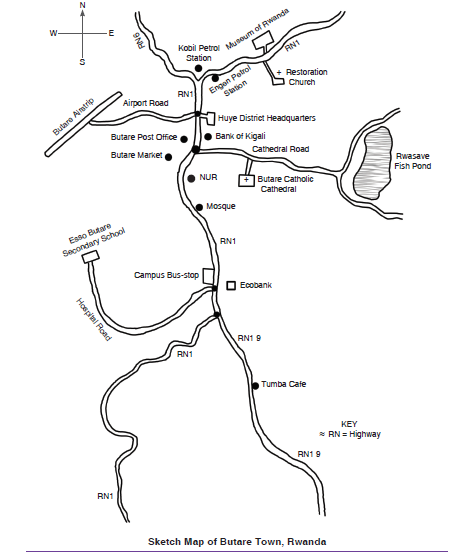 MAP OF BUTARE TOWN