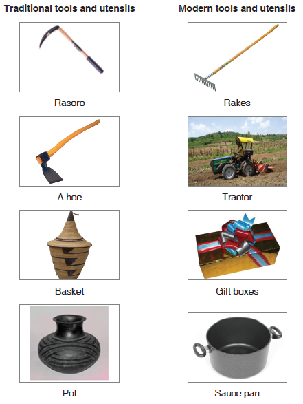 Traditional tools and utensils PLUS Modern tools and utensils